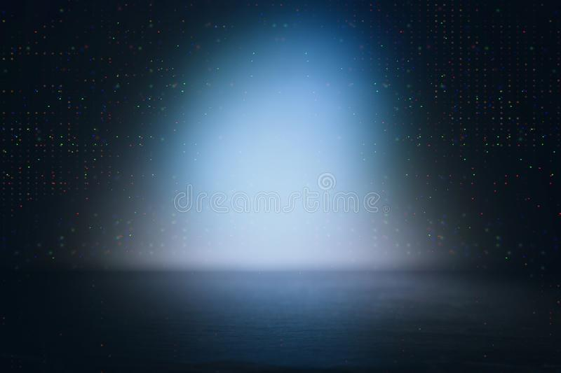 Background of abstract dark concentrate floor scene with mist or fog, spotlight and display royalty free stock photo