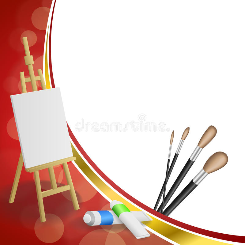 Background abstract easel picture paint brush red yellow gold ribbon frame illustration royalty free illustration