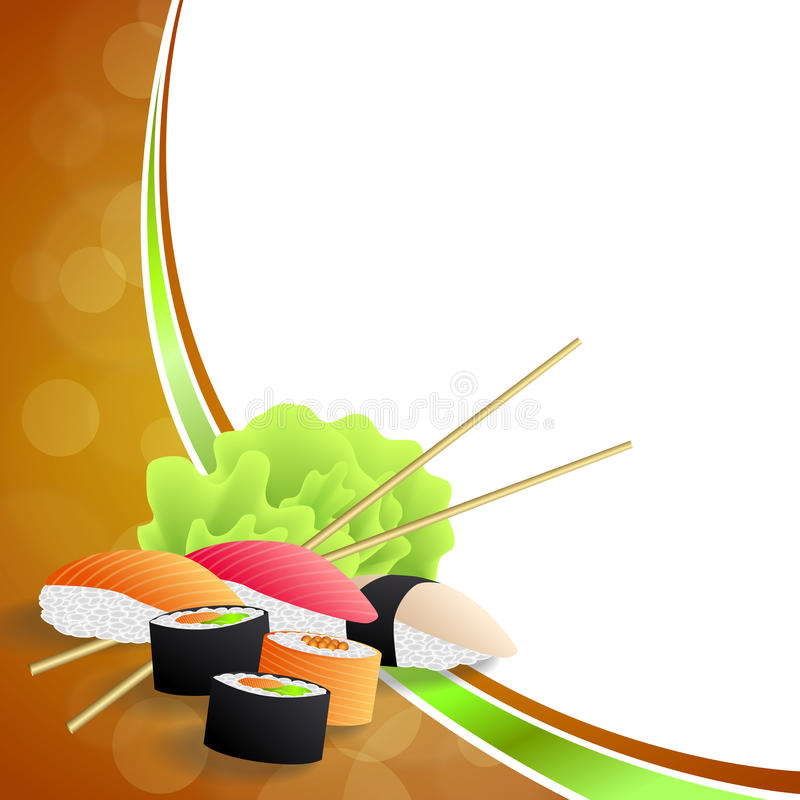 Background abstract food sushi orange yellow green frame wave illustration. Vector royalty free illustration