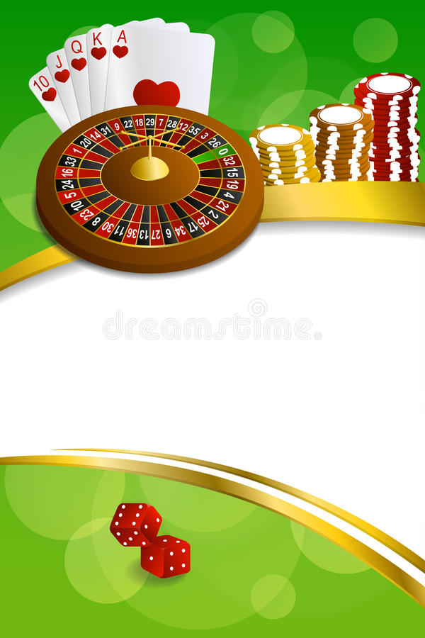 Background abstract green casino roulette cards chips craps frame vertical gold ribbon illustration. Vector royalty free illustration