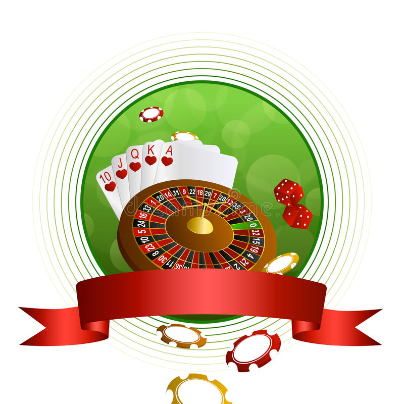 Background abstract green casino roulette cards chips craps red ribbon circle frame. Vector vector illustration
