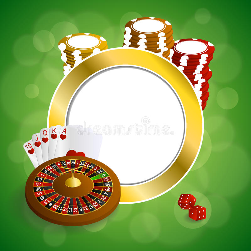 Background abstract green gold casino roulette cards chips craps frame circle illustration. Vector stock illustration