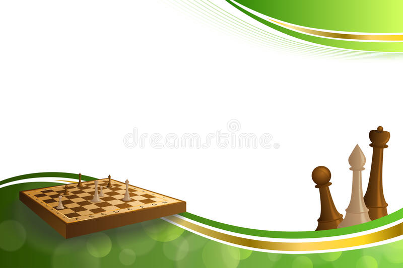 Background abstract green gold chess game brown beige board figures illustration royalty free illustration