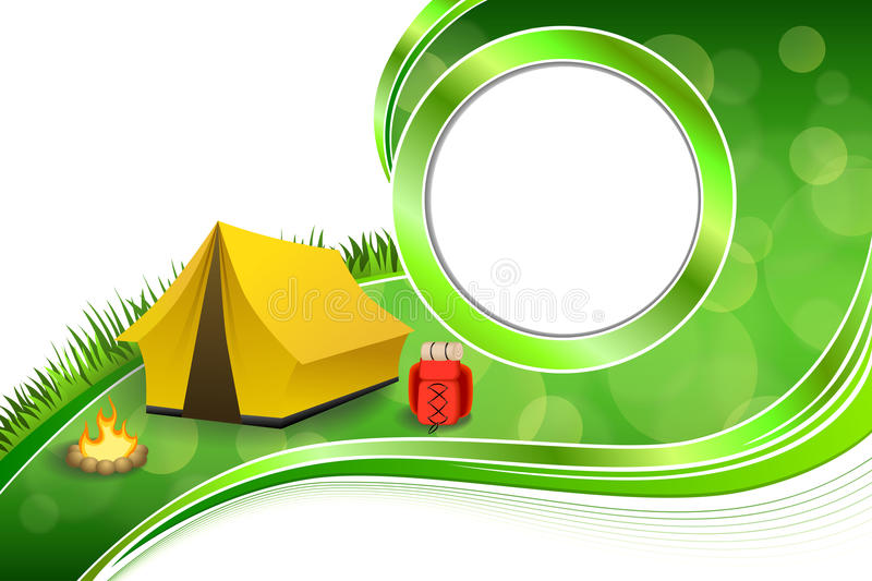 Download Background Abstract Green Grass C&ing Tourism Yellow Tent Red Backpack Bonfire Circle Frame Illustration Stock  sc 1 st  Dreamstime.com & Background Abstract Green Grass Camping Tourism Yellow Tent Red ...