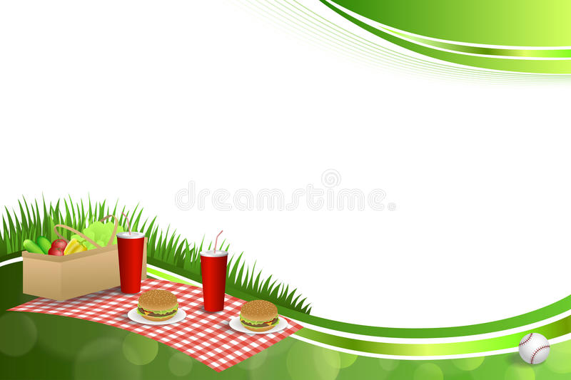 Background abstract green grass picnic basket hamburger drink vegetables baseball ball frame illustration stock illustration