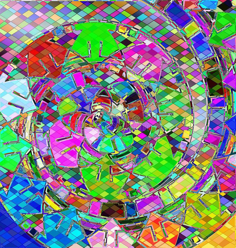 Background with abstract image of variation color abstract spiral consisting of lines and figures stock illustration