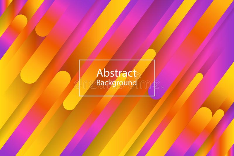 Background with abstract lines of violet and orange colors. Vector royalty free illustration
