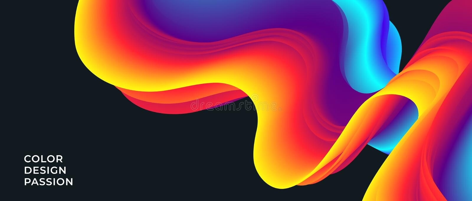 Background with an abstract liquid color flow stock illustration