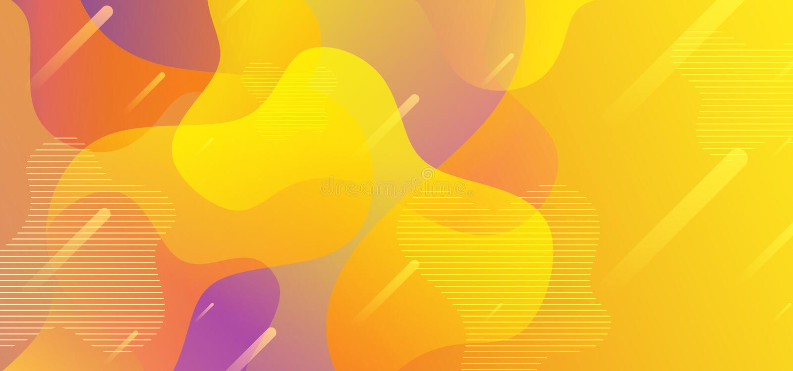 Background abstract liquid shapes with yellow flow fluid gradient colorful vector eps 10. Geometric modern trendy style. Template, curve, wave, design, graphic royalty free illustration