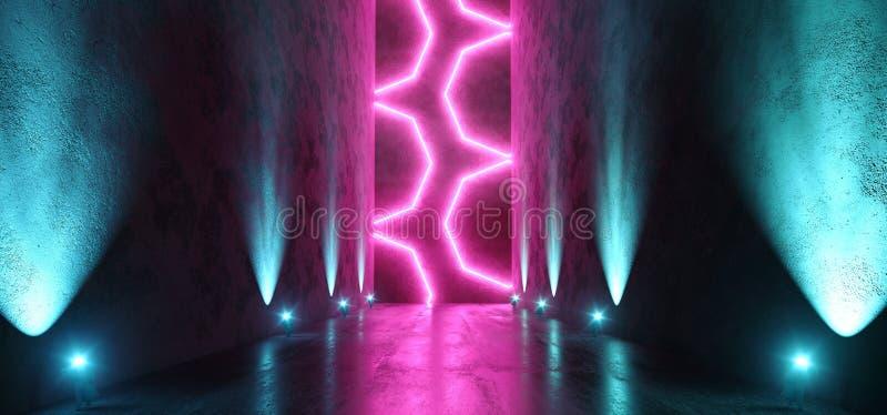 Background Abstract Neon Blue Purple Sci Fi Futuristic Fluorescent Alien Spaceship Dark Empty Grunge Concrete Corridor Tunnel Hall stock illustration
