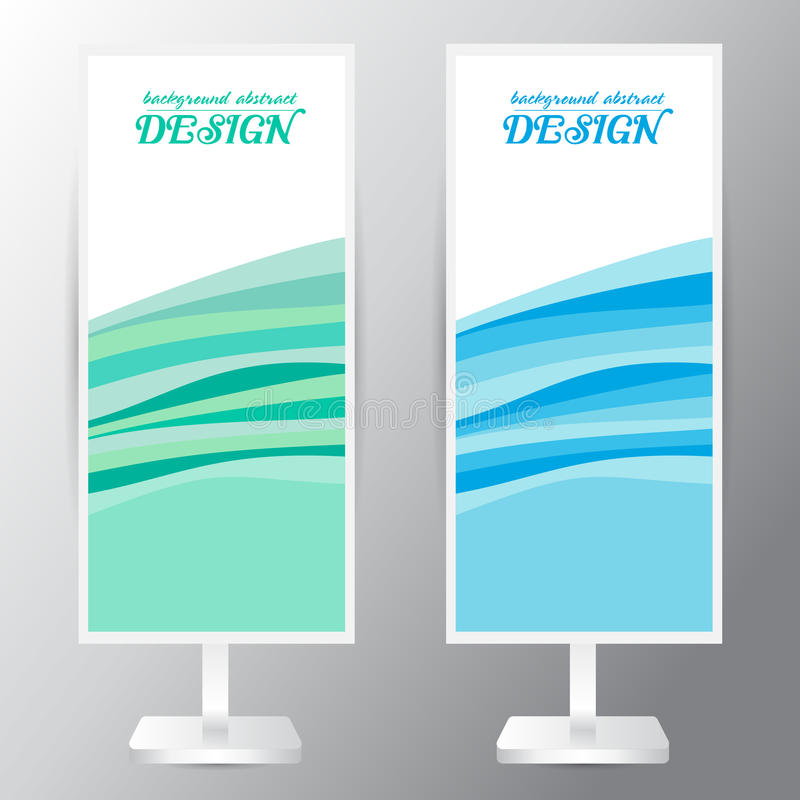 Background abstract overlap set blue green Curvy waves waves Roll up. Background abstract overlap blue green Curvy waves waves Roll up banner stand design Vector vector illustration