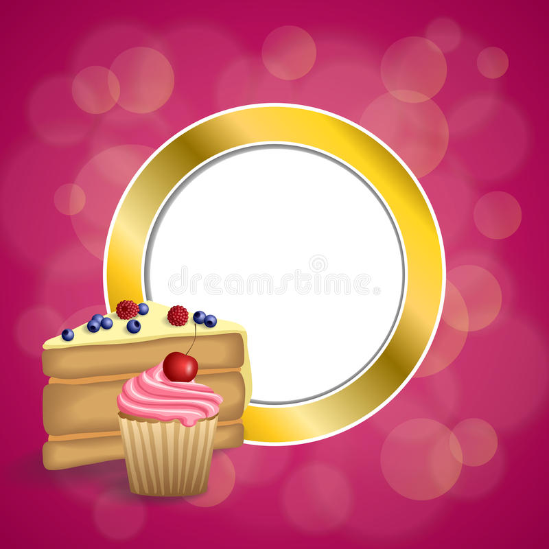 Background abstract pink yellow dessert cake blueberry raspberries cherry cupcake muffins cream gold circle frame illustration. Vector stock illustration