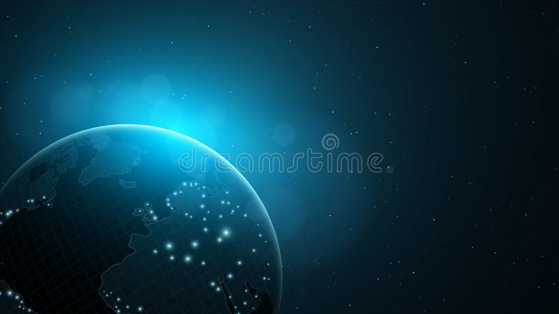 Background with an abstract planet in space world map blue glow download background with an abstract planet in space world map blue glow vector gumiabroncs Image collections