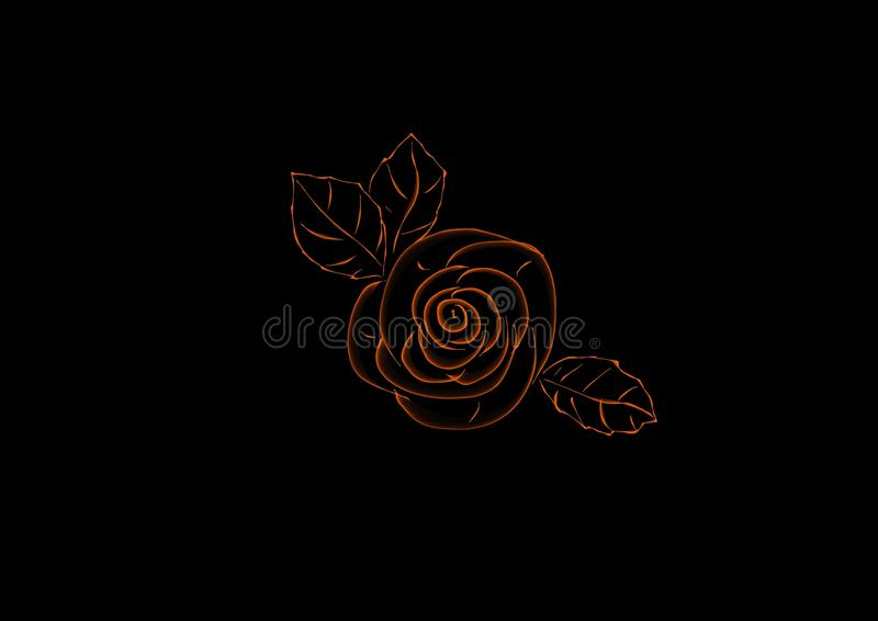 Background abstract tea rose on black. Abstract background or pattern with elements in the form of tea rose, contrasting color combination of black and orange royalty free illustration