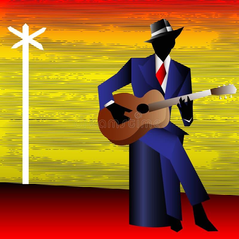 Blues Guitarist at the Crossroads vector illustration
