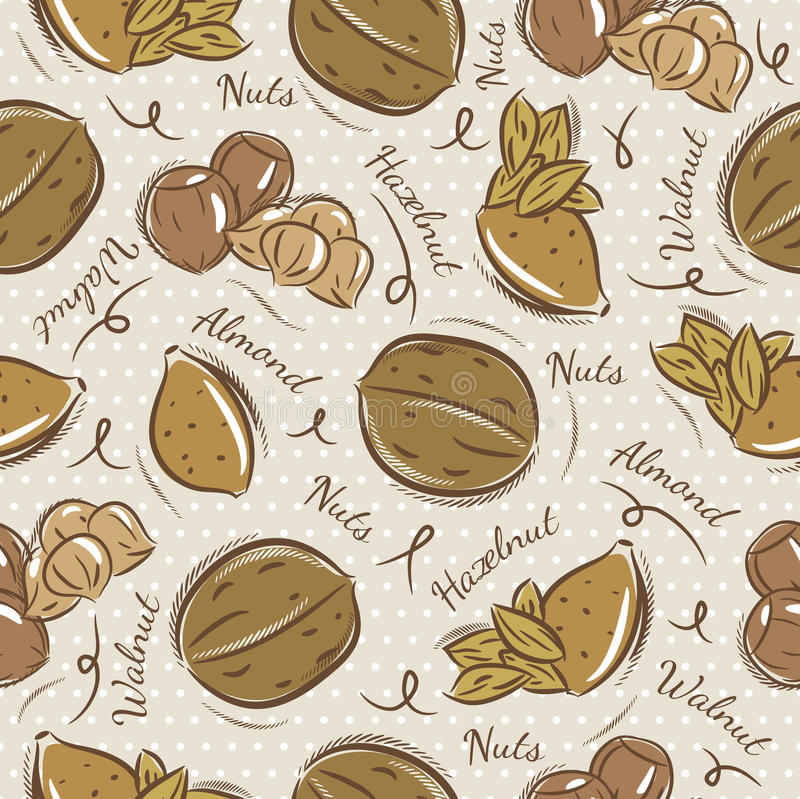 Background with almond, hazelnut and, walnut. Ideal for printing onto fabric and paper or scrap booking stock illustration