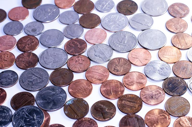 Background of  american coins for economy purposes royalty free stock images