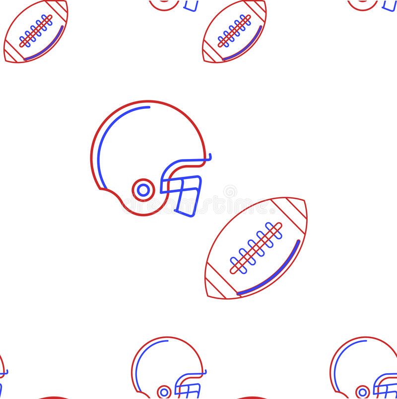 Background for American football. Seamless pattern with contour helmet and ball for American football in blue and red colours on white background royalty free illustration