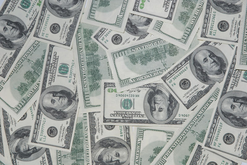 Background with american hundred dollar bills stock photography