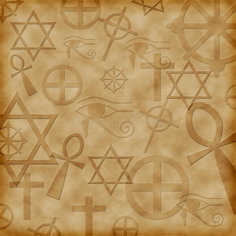Background with ancient symbols stock illustration