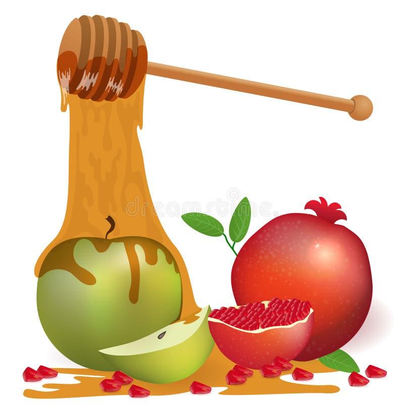 Background with apple honey and pomegranate. Shana Tova. Jewish royalty free illustration