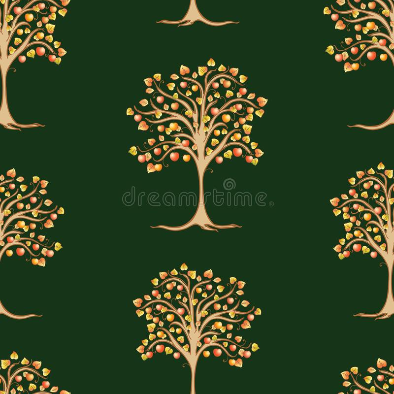 Background of apple trees with ripe apples. Seamless pattern of drawn decorative apple trees vector illustration