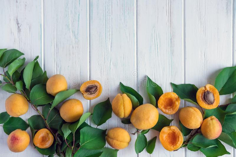 Background with apricots. Photo of fresh apricot with green leaves and place for copy space on a white wooden background. Apricots stock photography