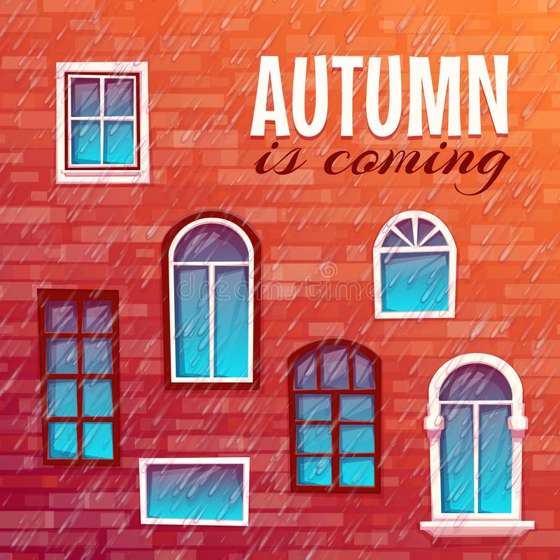 Background of autumn with building wall. Vector illustration stock photos