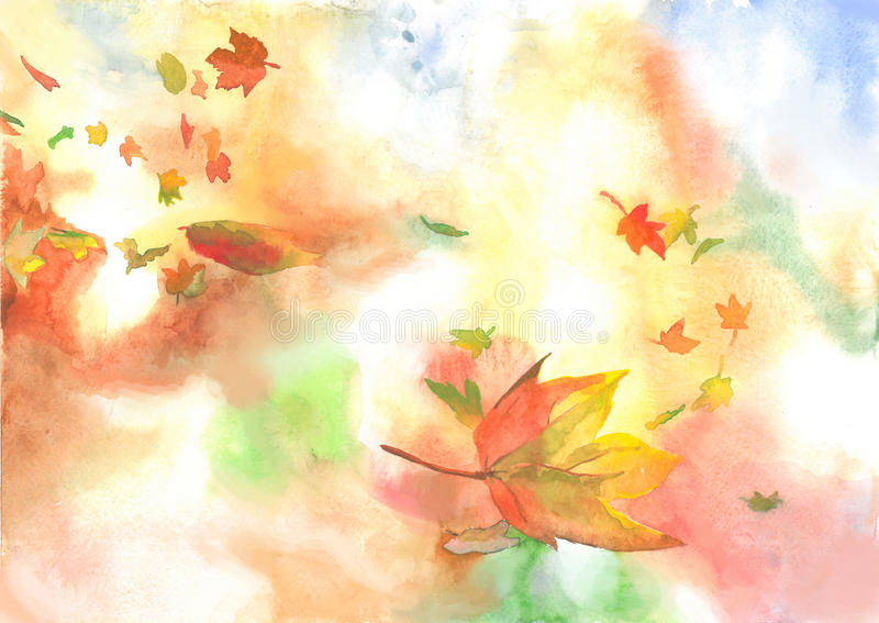 Background autumn fall leaves. In a warm autumn forest fall leaves hiding the ground golden carpet stock illustration