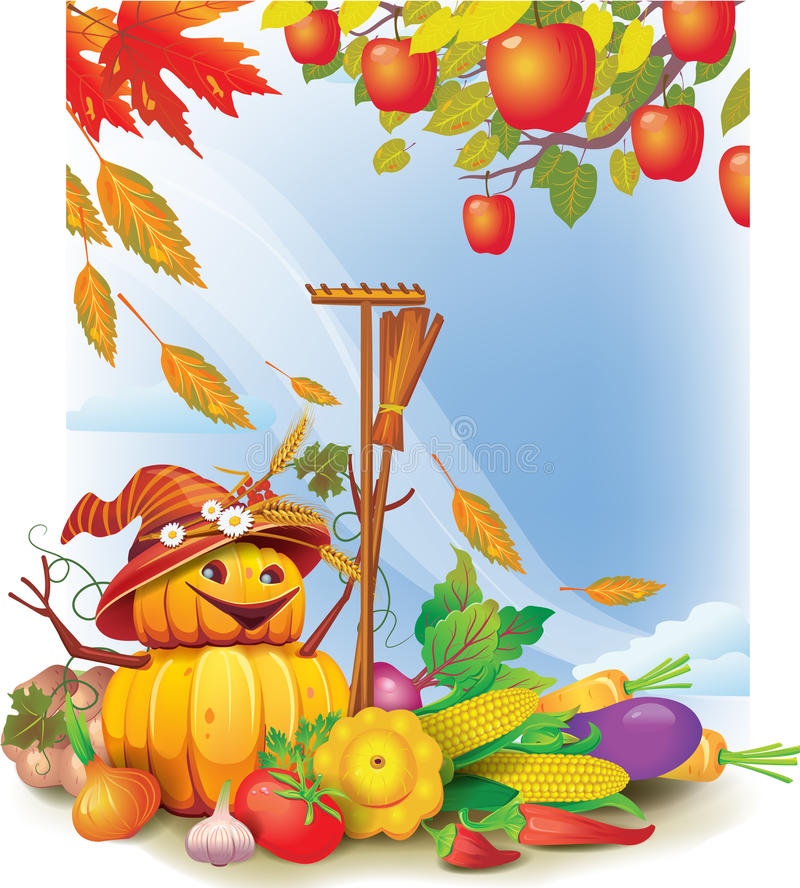 Download Background With Autumn Leaves And Vegetable Stock Vector - Image: 26492160