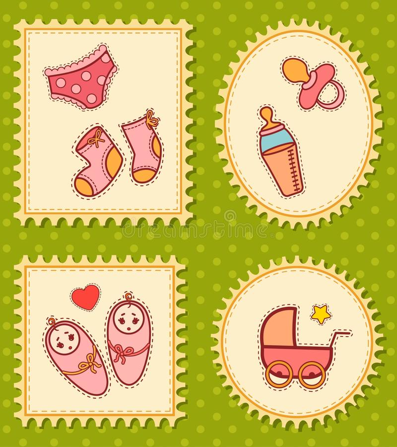 Background with baby icons vector illustration