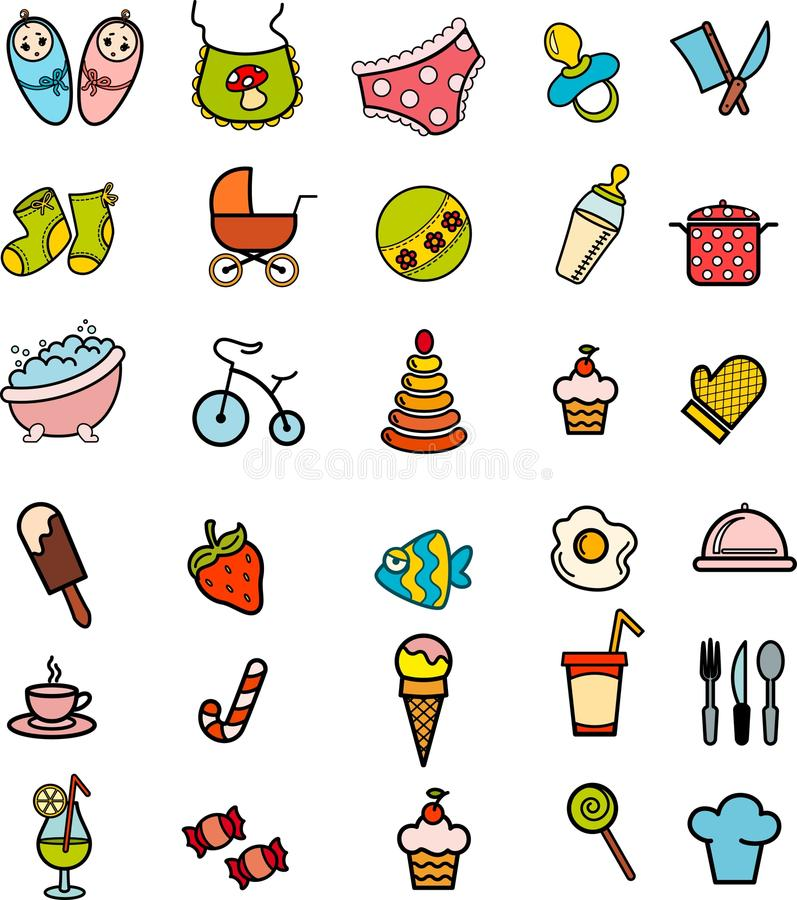 background with baby icons royalty free illustration