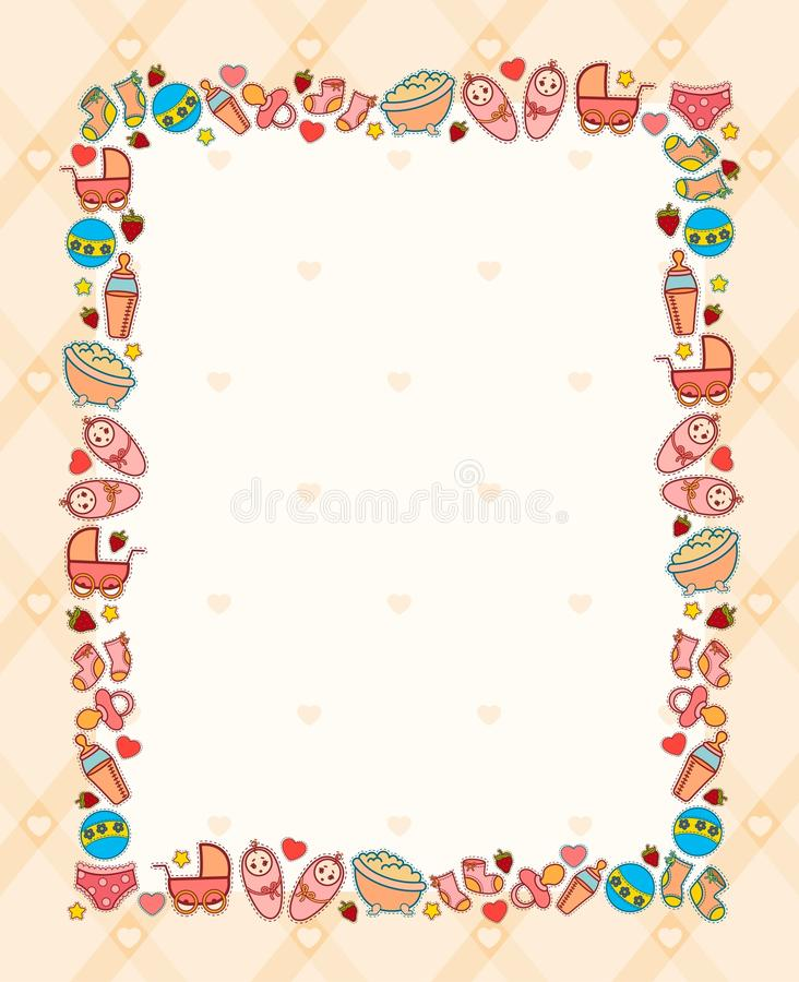 Background with baby icons stock illustration