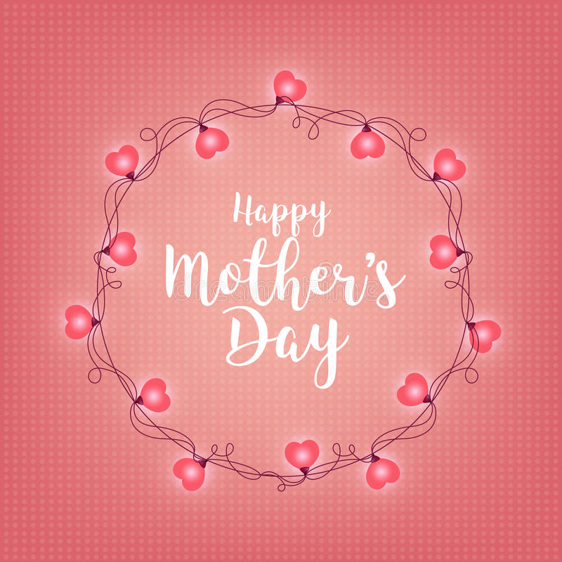 Background with badge and greeting Happy Mother s Day. Abstract retro light frame. Realistic color garlands, festive vector illustration
