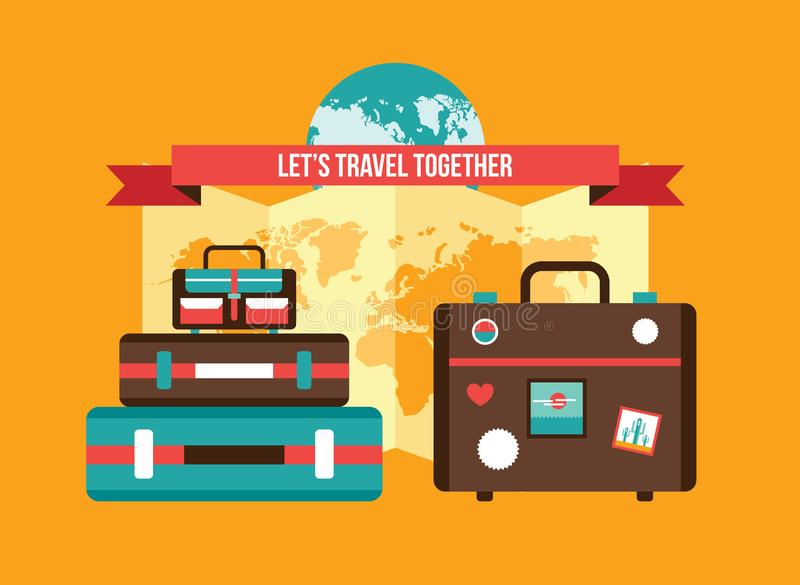 Background with Bag Suitcases World map Vacation Travel planning concept stock illustration