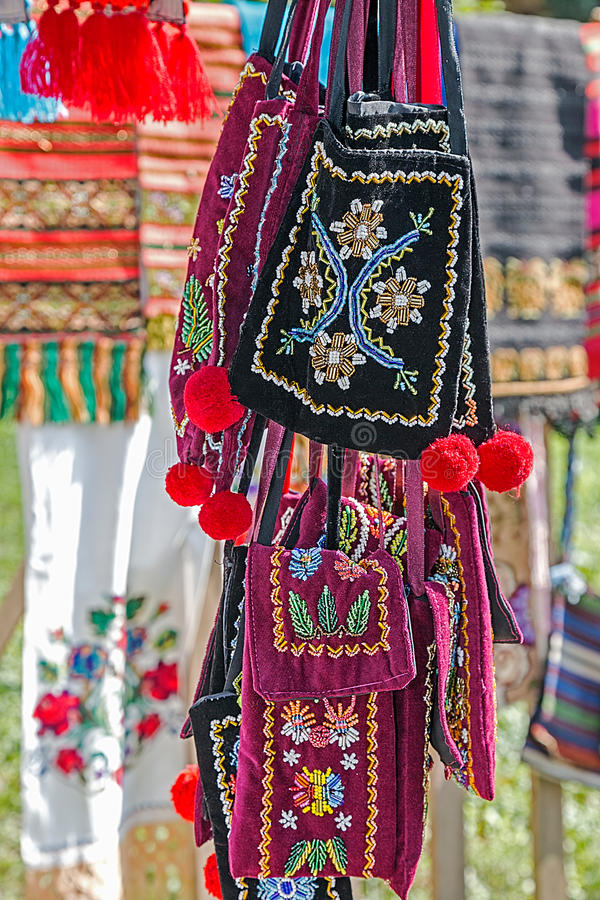 Background with bags embroidered specific for Bistrita-Nasaud, R. Background with bags embroidered and decorated with specific patterns of the Bistrita-Nasaud royalty free stock photos