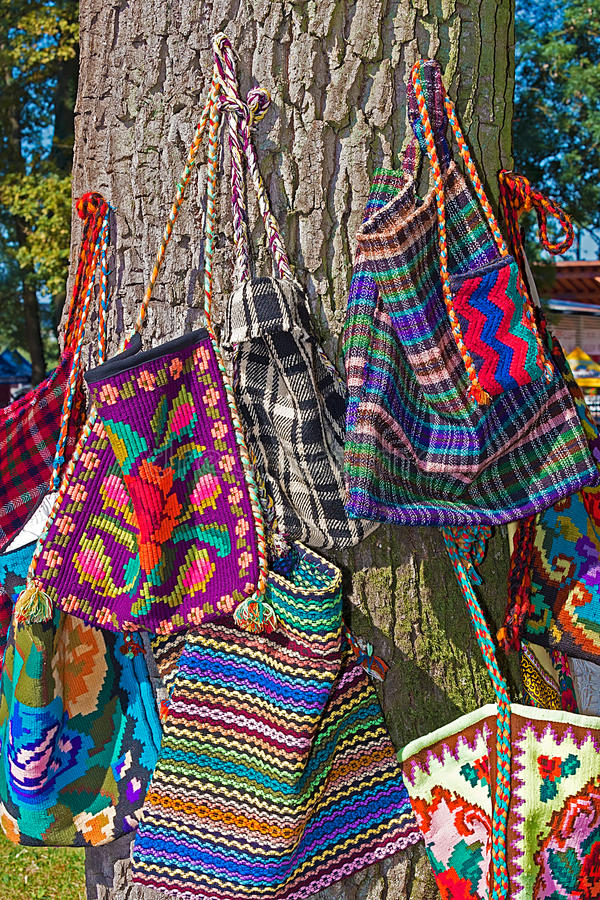 Background with bags embroidered specific for Bistrita-Nasaud, R. Background with bags embroidered and decorated with specific patterns of the Bistrita-Nasaud royalty free stock photography