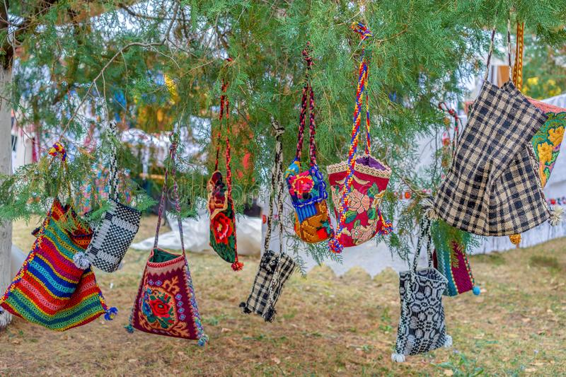 Background with bags embroidered specific for Bistrita-Nasaud, R. Background with bags embroidered and decorated with specific patterns of the Bistrita-Nasaud stock photography