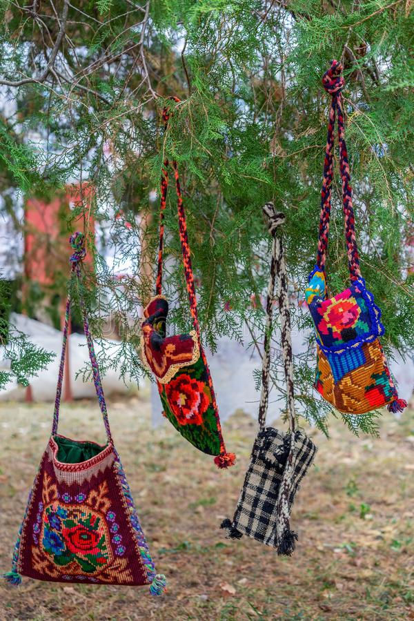 Background with bags embroidered specific for Bistrita-Nasaud, R. Background with bags embroidered and decorated with specific patterns of the Bistrita-Nasaud stock images
