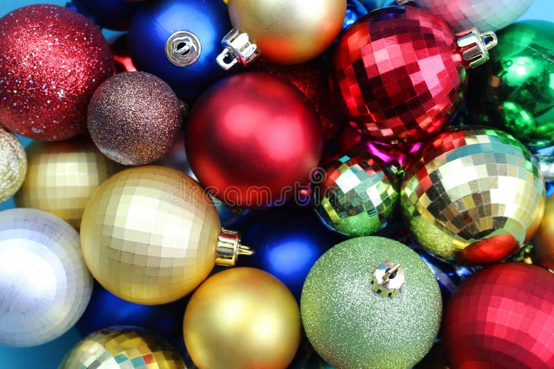 Texture of many colorful christmas balls in one heap stock image