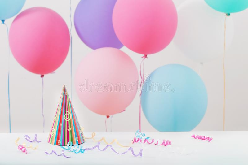 Background of balloons for birthday stock image