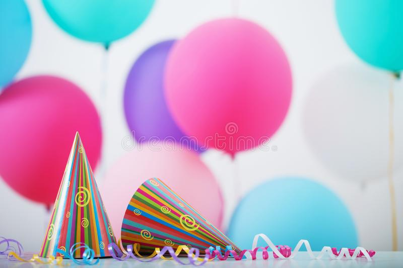 Background of balloons for birthday stock images