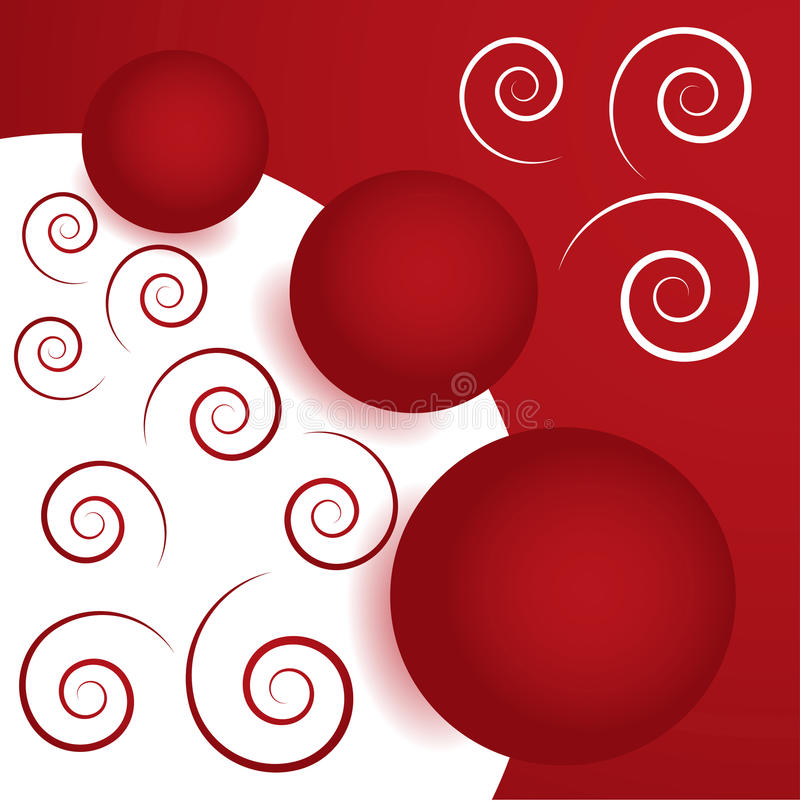 Background with balls and spirals stock images
