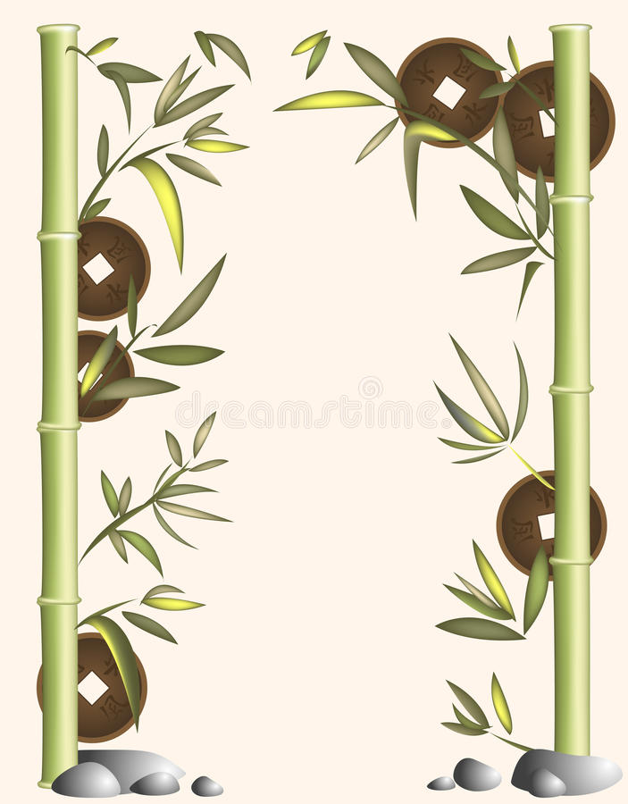 Download Background Of Bamboo And Coins Stock Vector - Image: 11037322