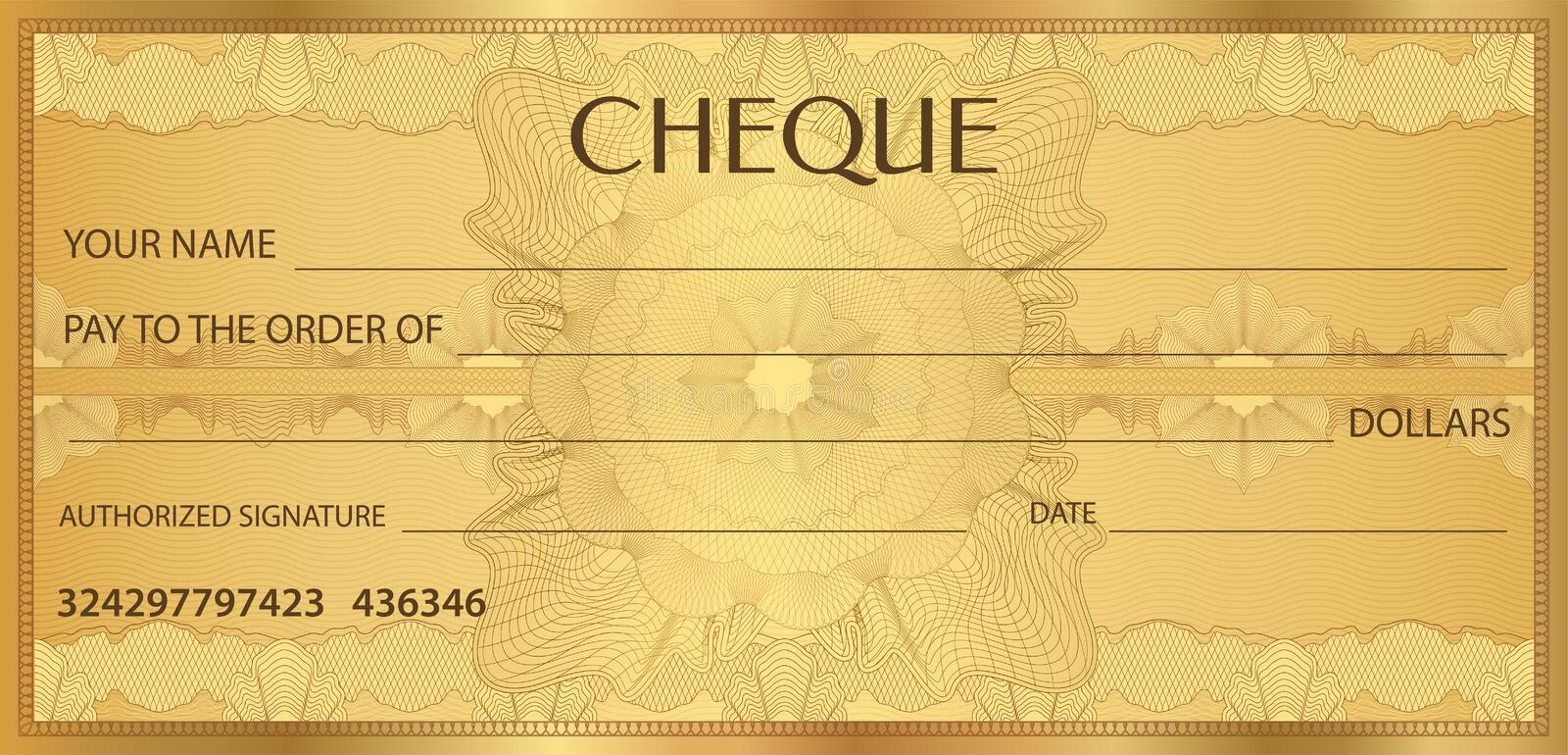 Check Cheque, Chequebook Template. Guilloche Pattern With Watermark ...