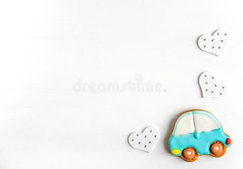 Background for a banner with car. Children banner. Frame for greeting card newborn boy. Blank for design childish banner with. Background for a banner with car stock photo