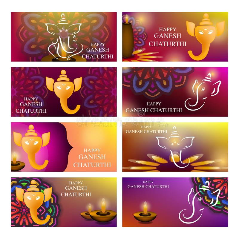 Background banner design of Ganesh Chaturthi festival in set stock illustration