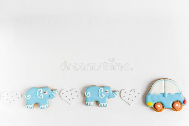 Background for a banner with elephants and car. Children banner. Frame for greeting card newborn boy. Blank for design childish. Background for a banner with royalty free stock image