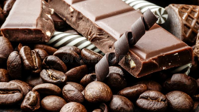 Chocolate with coffee beans, candy, caffeine ,dark, natural, close-up ,cafe ,macro, cocoa, Christmas royalty free stock photography