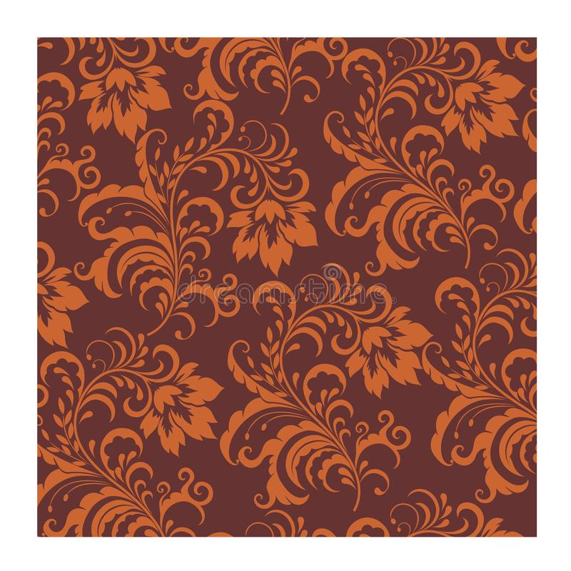 Background Batik seamless vector brown orange for fashion textile print. royalty free stock photo